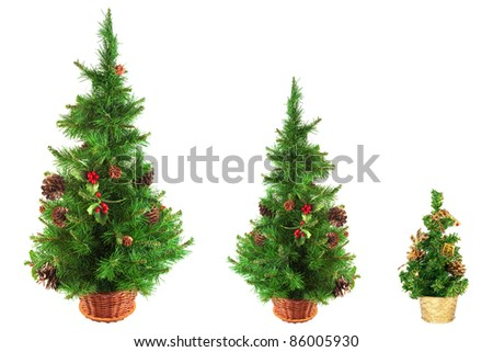Decorated, festive Christmas tree on a white background - stock photo