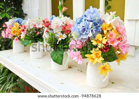 decorated flower in garden - stock photo