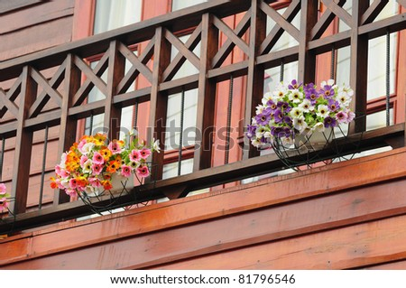 decorated flower pot at house - stock photo