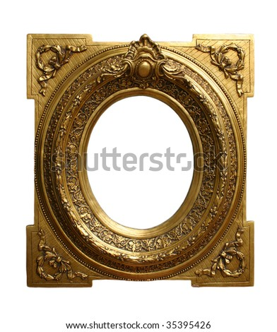 Decorated gilded wall picture framework - stock photo
