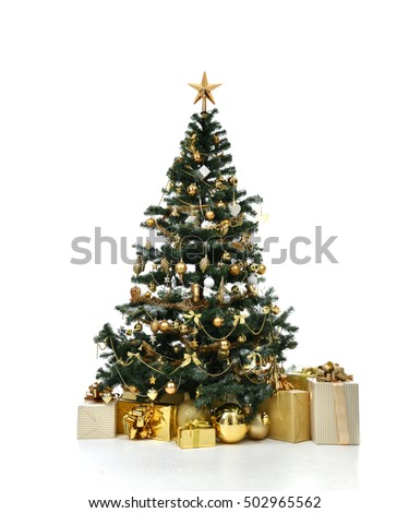 Decorated gold Christmas tree with golder patchwork ornament artificial star hearts presents for new year isolated on white background