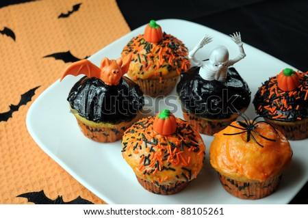 Decorated Halloween Cupcakes - stock photo