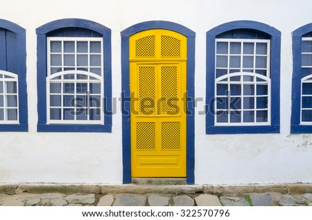 decorated houses in Paraty in Brazil - stock photo