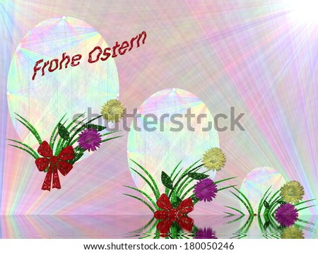 decorated in pastel color card easter holiday with German lettering - stock photo