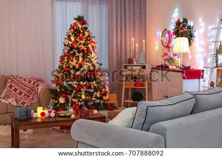 Decorated Living Room Beautiful Christmas Tree Stock Photo (Royalty ...