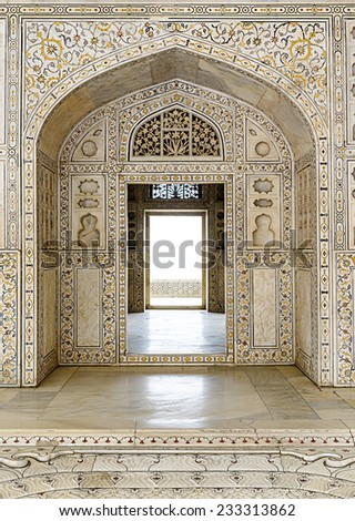 Decorated marble wall and door at Agra Fort Palace