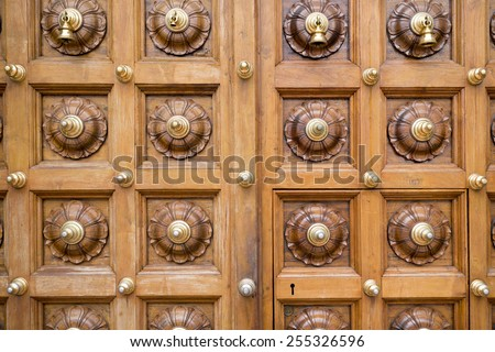decorated massive wooden doors of Hindu Temple in Singapore