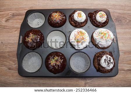 Decorated muffins - stock photo