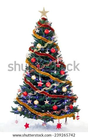 Decorated new year tree isolated on white background - stock photo