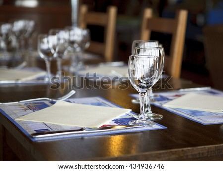Decorated Outdoors Restaurant Tables in Normandy on a sunny Autumn Day in October - stock photo