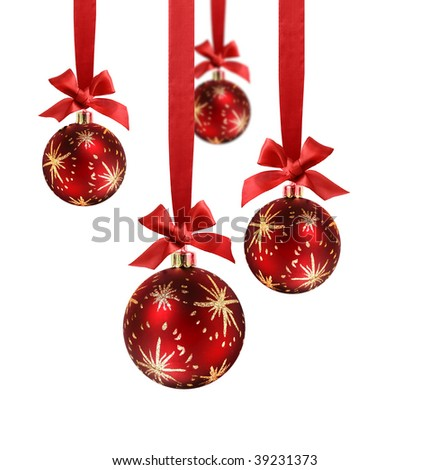 Decorated red christmas balls hanging in red silk ribbons with knot and bow