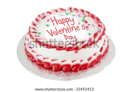 Decorated red frosted happy valentine's day cake