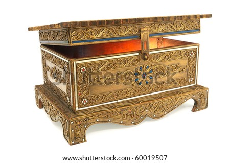Decorated treasure chest isolated on white background. - stock photo
