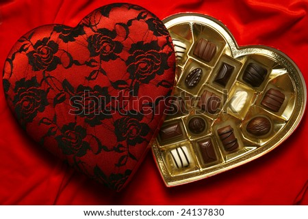 Decorated Valentine heart with assorted chocolate candies