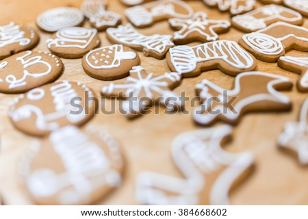 Decorated various  gingerbread cakes