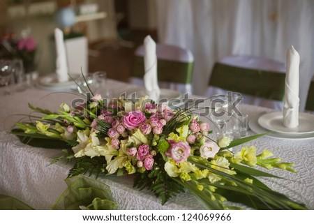 decorated wedding restaurant - stock photo