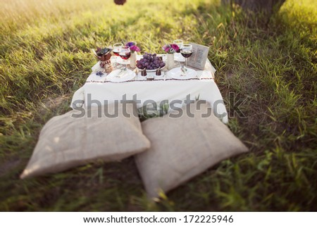 decorated wedding table in the park - stock photo