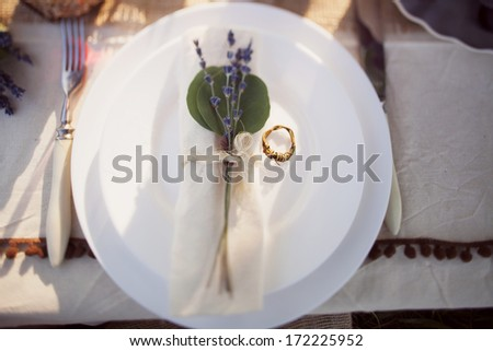 decorated wedding table in the park and wedding ring - stock photo