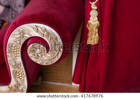 decorated with gold classical style of the sofa in red - stock photo