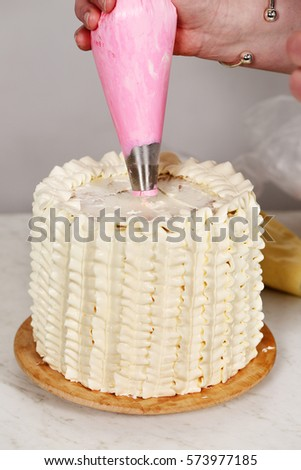 Cake Decorating Stock Images : Decorating Cake Flowers Cream Stock Photo 573977185 ...
