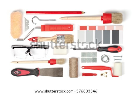 decorating and house renovation tools and accessories on white background top view. flat lay composition in red colors