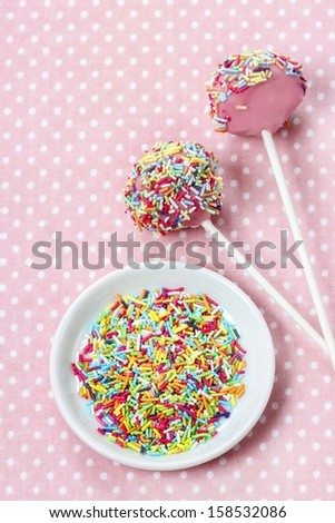 Decorating cake pops - stock photo