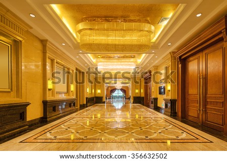 decoration and design in luxury entrance hall - stock photo
