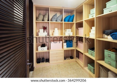 decoration and design of modern wardrobe - stock photo