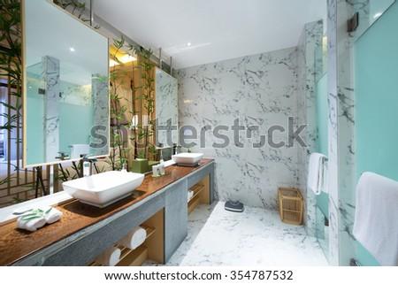 decoration and design of modern washroom - stock photo