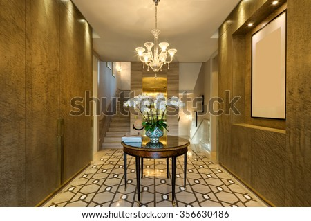 decoration and furniture in modern entrance hall  - stock photo
