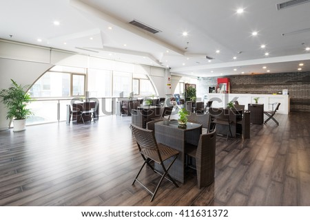 decoration and furniture of coffee bar in modern gym