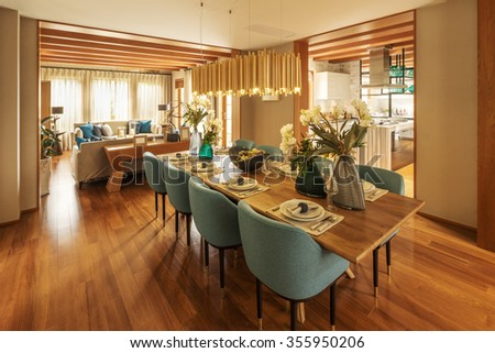 decoration and furniture of modern dining room - stock photo