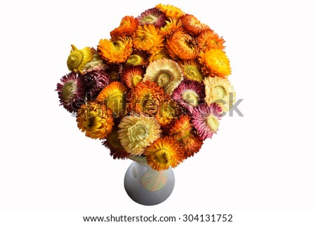 Decoration artificial flowers arrangement isolated on white background - stock photo