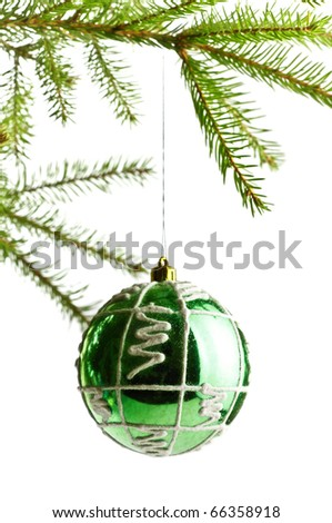 decoration ball on fir branch, white background