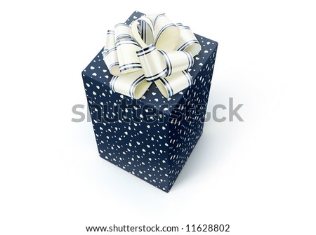 Decoration box with bow isolated on white.