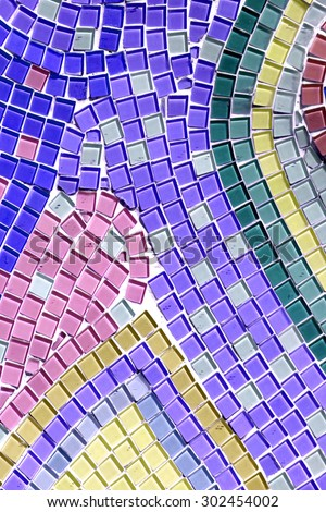 Decoration Colorful glass mosaic art and abstract wall background