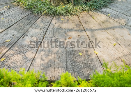 decoration footpath and grass in the garden. - stock photo