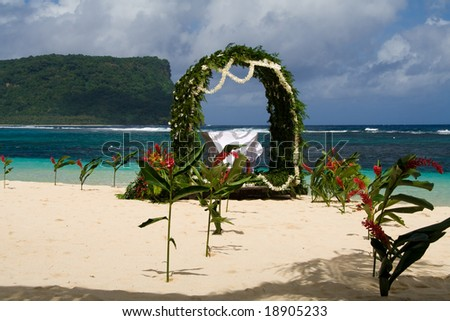 decoration for an island wedding in the sand