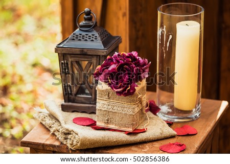 Decoration for the wedding ceremony in the park in autumn