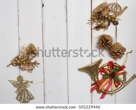 Decoration object christmas concept white wood background