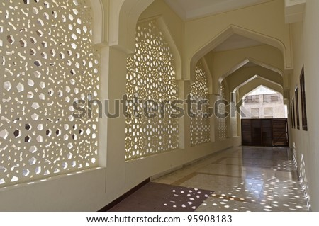 Decoration of Bastakiya Mosque in Dubai - The Bastakia quarter, or Bastakiya, is an area of Dubai on the Bur Dubai side of the Dubai Creek that dates from the 1890s. - stock photo