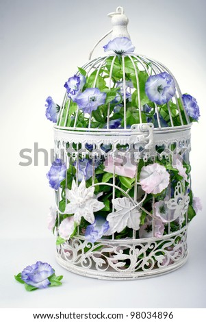 Decoration of colorful flower in cage - stock photo