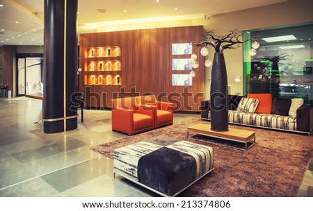 Decoration of entree hall in modern hotel - stock photo