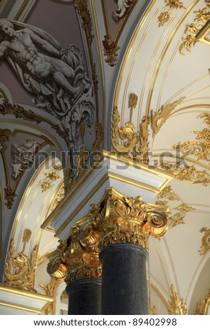 Decoration of main Staircase of the Winter Palace, Saint Petersburg, Russia - stock photo