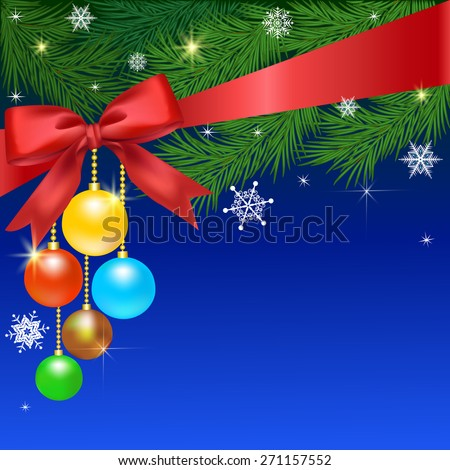 Decoration of the Christmas balls and fir branches bow - stock photo