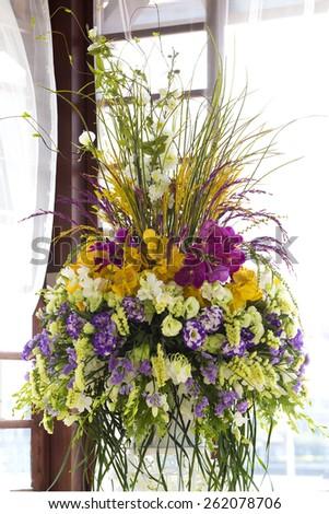 Decoration of wedding flowers - stock photo