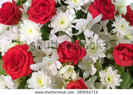 Decoration of wedding nosegay of fresh beautiful flowers of roses  - stock photo