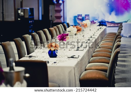 decoration of wedding table - stock photo