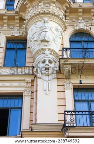 Decoration on the Facade of an Art Nouveau Palace in Riga, Latvia - stock photo