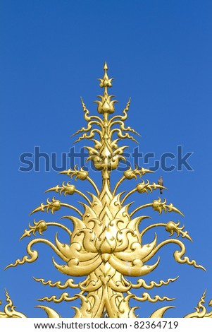 decoration on top of roof at Wat Rong Khun Chiang Rai province Thailan